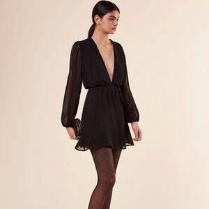 Reformation Laughlin black wrap dress small